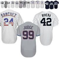 basebol alto venda por atacado-2019 novas Camisolas de beisebol Yankees de York 42 Camisolas de Mariano Rivera 7 Manto 99 Juiz 3 Babe Ruth Bordado de alta qualidade