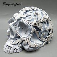 patrones de fondant gratis al por mayor-cráneo 3D modelo molde de silicona molde de pastel fondant de yeso resina de vela del molde del chocolate de caramelo sin