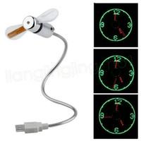 Wholesale cool gadgets resale online - LED Light USB Fan Durable Adjustable USB Gadget Mini Flexible Time Clock Cool Gadget Real Time Display desk decor FFA3802