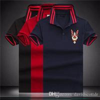 polo negro para hombre al por mayor-Diseñador de moda de lujo clásico hombre Cabeza bordada de las camisas para perros Algodón Camisetas de diseñador para hombre Camisas de polo de diseñador rojas y negras hombres M-4X