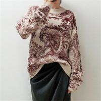 ingrosso maglioni eleganti di modo delle donne-Maglione delle donne eleganti del pullover del maglione del O-Collo del ricamo della stampa animale delle donne di modo delle progettazioni della pista