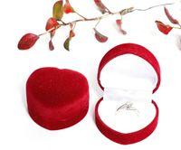 kadife mücevherat toptan satış-Kırmızı Halka Kutuları Kişiselleştirilmiş Kadife Düğün Özgünlük Hediye Kutusu Moda Sevgililer Nişan Kutusu Mücevher Ambalaj Kutusu