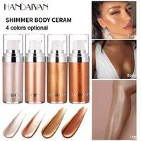 Wholesale gold liquid for sale - Group buy Handaiyan Body Luminizer Bronzer Highlighter Liquid Setting Spray Shimmer Brighten Glow Rose Gold Highlight Makeup Waterproof