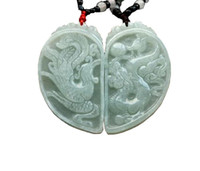 jóias de jade jadeite naturais venda por atacado-Jade Fine Pure Jadeite Jade Dragão Phoenix Amor Par Amuleto Pingente de Colar Frete Grátis