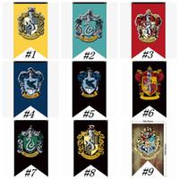 banderas banderas señales al por mayor-Banderas del Partido Colegio Hogwarts de Harry Potter Gryffindor muestra de la bandera de la bandera 75 * el 125CM Casa decoración de la pared de la bandera de poliéster Banderas ZZA1347-6