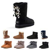 botas de mujer negra al por mayor-La flor del rosetón WGG Bowtie de las mujeres Azul marino tobillo de la manera Boots Australia Classic Negro Gris Castaño muchacha de las mujeres botas de nieve EUR 36-41
