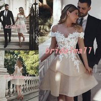 Wholesale champagne line wedding dresses online - Off shoulder Champagne Tulle Arabic Short Wedding Dresses African White Appliqued Beach Boho Bridal Gowns Custom Made Robes de mariée
