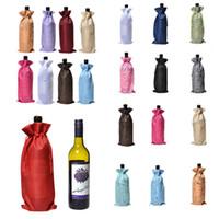 ingrosso titolari di bottiglie di vino di nozze-Bottiglia di vino Covers Champagne Vino Imballaggio sacchetti del regalo di Natale della iuta sacchetto Wedding Dinner Table Cup titolare decorationT2I5433