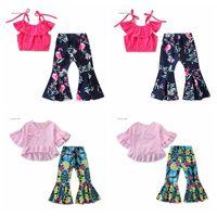 blumenhemd für kinder großhandel-Baby-Flamingo-Ausstattungs-T-Shirts Flares Hosen 2pcs / set Sommer-Kinder mit Blumenmustern Tops Hose Kleidung Sets OOA7053-22
