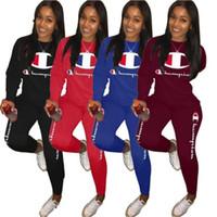 nackte frauen nacht kleider großhandel-Frauen Champion Trainingsanzug Set Sportswear Langarm Designer T Shirts Top Hosen Zweiteiler Fashion Brand Damen Outfits CW4598