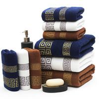 ingrosso asciugamano usa-New Luxury 3 pezzi / set Set di asciugamani in cotone 100% con 2 salviette per il viso + 1 set di asciugamani da bagno Set per bagno per gli ospiti della famiglia