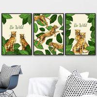 pintando animal selvagem venda por atacado-Wall Art coleção Wild Animal Folha Leopard pintura da lona Posters nórdicos e Prints imagem do bebê da sala dos miúdos Home Decor
