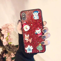 Wholesale santa claus glitter online - 2018 NEW Popular Christmas Glitter Bling Case D Epoxy TPU Back Cover Cute Santa Claus Elk Shockproof for iPhone X XS MAX XR