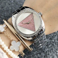 Wholesale g girl watches resale online - Brand quartz wrist Watch for Women Girl Triangular crystal style dial metal steel band Watches GS