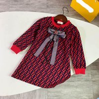 Wholesale Kids Designer Clothes Girls Print F Dress Baby Girl Designer Clothes Luxury Pageant Dresses for Girls High end F letter Princess Ball Gown