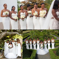 Wholesale purple white juliet wedding dress resale online - 2018 Elegant White Spaghetti Straps Bridesmaid Dresses Ruched Sleeveless Satin Bridesmaids Dresses Cheap African Wedding Guests Wear