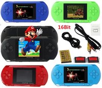 Wholesale video games pvp resale online - Portable PXP3 Bit PVP Game Video Console TV Out Games Slim Station Game Players inch Screen with retail package