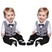 Wholesale baby clothing fast shipping resale online - Baby Romper Baby Waistcoat Fake Two Fast Selling Baby Crawling Clothes for Gentlemen for Boys