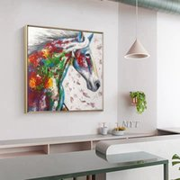 Wholesale colorful modern oil paintings for sale - Group buy Colorful Horses Are Running Abstract Oil Painting Wall Art Home Decor Picture Modern On Canvas Handpainted No Framed