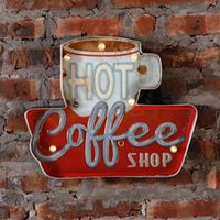 Wholesale vintage neon signs resale online - Hot Coffee Shop Vintage LED Neon Light Metal Signs Bar Pub Decorative Painting Cafe Wall Painting Home Decor Advertising Sign SH190918