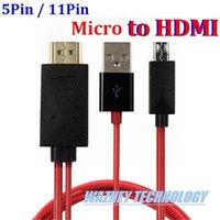 вывод аудио-видео оптовых-11 pin 5 pin Micro USB to HDMI видео аудио кабель HDTV HD TV адаптер для Samsung Galaxy S5 S3 S4 примечание 4 3 2 для S2 HTC LG)