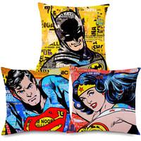 Wholesale pop art pillows cases for sale - Group buy Vintage POP Art Justice League Superman Wonder Woman Decorative Pillow Cover For Living Room Linen Cushion Cover Case X45cm