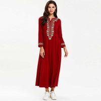 strickjacke kleid großhandel-2019 Ethnische Blumenstickerei Frauen Muslim Maxi Kleid Plus Size Lässige Islamische Abaya Übergroßen Kaftan UAE Robe Kleid VKDR1622