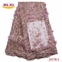 Wholesale embroidered nets for wedding dresses resale online - French Net Lace Fabric High Quality African Nigerian Embroidered Tulle Lace Fabric With Beads For Wedding Dress XY2017B