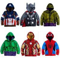 garçons spider man hoodies achat en gros de-Avengers Iron Man Thor Enfants Sweats à capuche Garçons Vêtements bébé garçon Manteau Spider-Man Halloween Costume enfants Enfant Top T-shirts MBT094 LY191225
