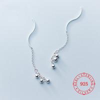 pendientes largos de plata al por mayor-925 de plata esterlina fiesta de lujo de las mujeres del círculo Dot Tiny Bead Ball largo cuelga los pendientes Tire a través de enhebrador cuelga el pendiente