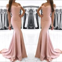 Wholesale dusty pink long mermaid bridesmaid dresses for sale - Group buy Cheap Dusty Pink Off Shoulder Satin Mermaid Bridesmaid Dresses Ruched Long Formal Party Prom Evening Dresses BM0983