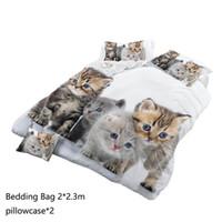 folhas de padrão animal venda por atacado-3D Padrão Animal Folhas Quilt Capa Fronha Casa Gato, Hotel, Casamento Set padrão animal.
