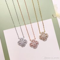 Wholesale clover korea necklaces for sale - Group buy Titanium Steel clover necklace colors double faced four leaf clover pendants Necklace zircon Korea Clavicle fashion jewelry for gift