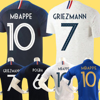 meninas, miúdos, futebol venda por atacado-France soccer jersey football shirt 2019 França camisa de futebol 100º aniversário de 100 anos 2 estrelas New Jersey Futebol 2018 da equipe da Copa do Mundo Griezmann Mbappé