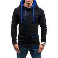 sweat à capuche slim pour hommes achat en gros de-Hommes Hoodies Casual molletonnée Drawstring Sweat à capuche Homme Zipper Slim Fit Pull à capuche M-3XL