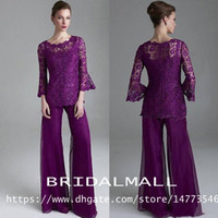 Classy 2019 Purple Lace Mother Of The Bride Pant Suits Sheer Jewel Neck Long Sleeves Wedding Guest pantsuit Plus Size Mothers Groom Dresses