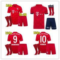 Wholesale windproof jersey resale online - 2019 kids kits Bayern Munich jersey MULLER VIDAL LEWANDOWSKI ROBBEN TOLISSO home soccer jerseyS JAMES youth Football shirt