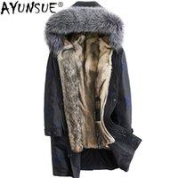 настоящий меховой мех оптовых-AYUNSUE 2019 New Real Wolf Fur Coat Men Parka Winter Jacket Silver  Fur Collar Parkas Plus Size Manteau Homme Hiver KJ1581