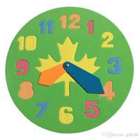 aprender bloques de rompecabezas al por mayor-Tiempo de novedad Reloj de aprendizaje Bloques de rompecabezas Juguetes de rompecabezas Color aleatorio Juguetes educativos tempranos para niños Niños