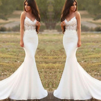 Wholesale beach wedding dress ivory chapel resale online - 2020 Country Mermaid Wedding Dresses Spaghetti Backless Sweep Train Appliques Illusion Bodice Long Beach Garden Country Bridal Gowns
