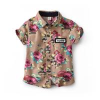 vêtements de style bohème pour les enfants achat en gros de-Mode bébé garçons chemise à manches courtes style bohème floral imprimé enfants chemise en coton enfants revers revers tops garçon vêtements Y2090
