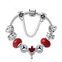 ingrosso perle di foglie di acero-2019 nuovi braccialetti di fascino pace foglia d'acero charms braccialetto di perline 925 catena di serpente d'argento regalo di san valentino gioielli fai-da-te con la scatola