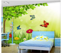 Wholesale butterfly flowers wallpaper stickers for sale - Group buy Custom d silk photo mural wallpaper Green Forest Flower Butterfly Cartoon Children Room Bedroom Mural Background Wall Sticker