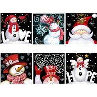Wholesale santa paintings resale online - 25 CM Full Drill D Diamond Painting Kits Christmas Santa Claus Embroidery Cross Stitch kits living room mosaic pattern Home Decor
