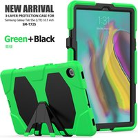 Wholesale tablet protection cases for sale - Group buy Three Layer Protection Shockproof Silicone Hybrid Case Cover with Kickstand for Samsung Galaxy Tab S5E T720 T725 Tablet