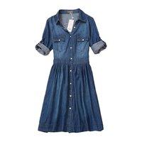 yüksek kaliteli giyim kadın artı boyutu toptan satış-Yüksek Kalite Sonbahar Denim Elbise Giyim Artı Boyutu Kadın Kot Elbise Zarif Bahar Ince Kovboy Günlük Elbiseler Vestidos Y19052703