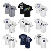 pelota tampa al por mayor-Para hombre camisetas de béisbol Tampa Bay encargo 2019 New Jersey Rays jugadores Kevin Kiermaier Blake Snell Wade Boggs Austin Meadows tejer