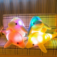 Wholesale dolphin plush for sale - 4 Colors Glowing Dolphin Toy Luminous Plush Toys Kawaii Light Up LED Dolphin Stuffed Doll Kids Christmas Toys Novelty Items CCA11135