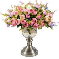 ingrosso rose di fiori di nozze artificiali di seta-10 teste / 1 bundle Rose da tè in seta Bouquet da sposa per le decorazioni natalizie. Decorazione natalizia fiori artificiali