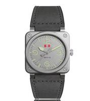 уникальные часовые пояса оптовых-роскошные колокол стальные часы мужские часы большие лица номера автоматический календарь мода простой повседневный дизайн стиль циферблат уникальные кожаные ремешки